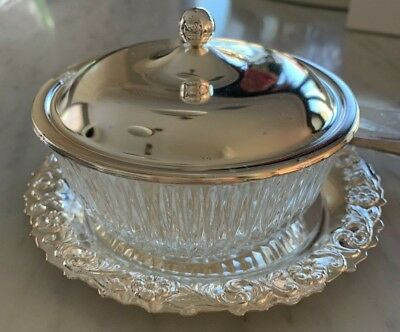 Brand New In Box Queen Anne Jam Bowl - Silver Plated and Glass Tableware & Spoon