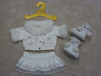Build a Bear cream outfit bundle knitted jacket, ribbed skirt, boots, hanger