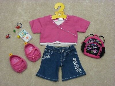 Build a Bear outfit bundle pink top, flared jeans, shoes, ipod, rucksack, hanger