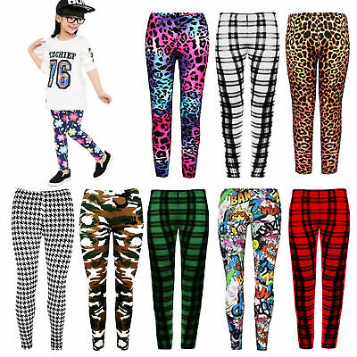 Girls Kids Tartan Camo Leopard Comic Print Full Length Stretch Pattern Leggings