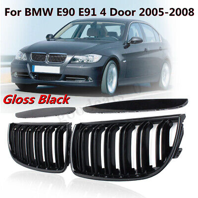 For BMW E90 E91 2005-2008 Pair Front Sport Kidney Grille Grill Set Gloss Black