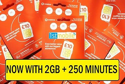 NEW VODAFONE Pay As You Go sim cards. 2GB data with 250 minutes, UNLIMITED texts