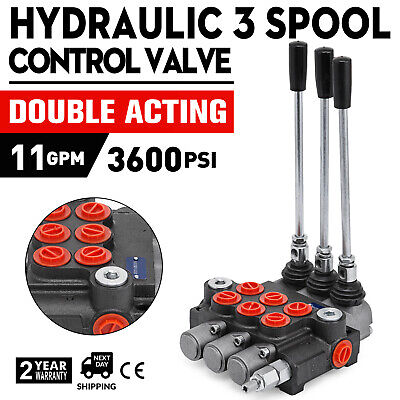 3 Spool Hydraulic Directional Control Valve 11GPM Double Acting Monoblock