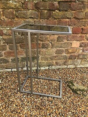 Mirrored Glass Side Sofa End Table Silver Metal Edging Furniture Interiors Home