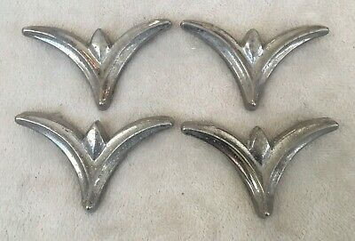 (4) Vintage Chrome Chevron Boomerang 1950's Cabinet Drawer Pull Handles