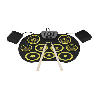 Portable Electronic Drum Set Roll Up Drum Kit 9 Silicon Pads USB Powered Z1I0