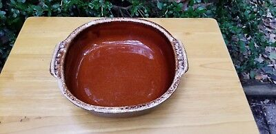 Hull Brown Drip Pottery Bowl With Side Handles