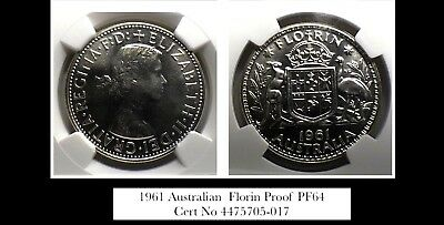 1961 Proof Australian  Florin  PF64 lovely coin and lovely eye appeal