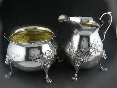 Sterling Creamer & Sugar Bowl w/ lion heads & chased w/ scroll & floral patterns