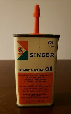 Vintage Singer Sewing Machine Oil Tin Can Container 75¢ 4ozs