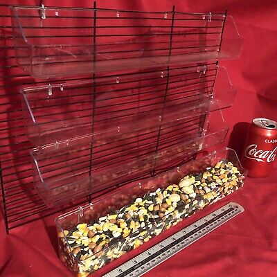 5 Small Animal Feeder 39cm Clip On Water Food Bowl Trough 2 Hook Cup Hamster Rat
