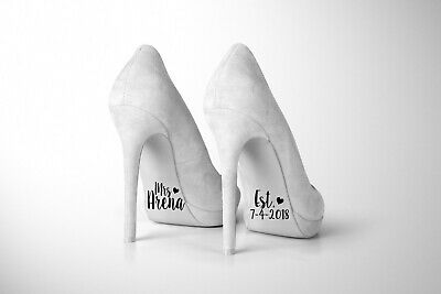 "Personalised bride wedding shoe decal, removable novelty sticker, 1""x2"""