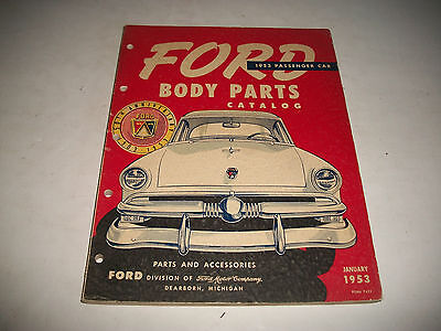 1953 Ford Passenger Car Body Parts Catalog Includes Soft Trim Samples Clean