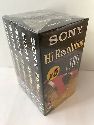 5 X Sony Hi Resolution E - 180 Vhs Video Tapes Brand New + Sealed