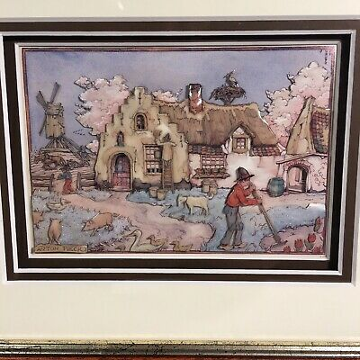 "Anton Pieck 3D Scene Shadowbox Art 10.25""x12.25"" Total Size Farm Windmill Farmer"