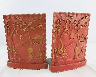 Pair of Vintage Red Painted Bookends Chinese Asian Japanese