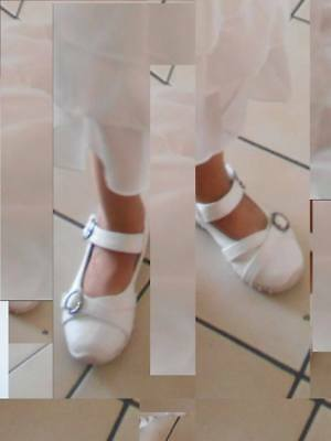 db2860aeb94ba CHAUSSURES FILLE BALLERINES blanches pointure 24 salomé - EUR 5