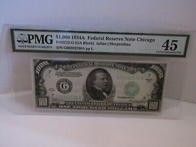 1934 A $1000 Bill US Federal Reserve Note Chicago FR 2212-G PMG 45