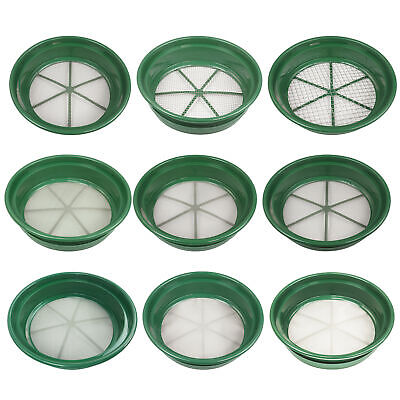 "9 pc Green Plastic Gold Classifier Sifter Pan Set Stackable 11"" Diameter"