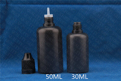 100sets 50ML  Black PE Dropper  Bottles With Childproof Cap &  Long Thin Tip