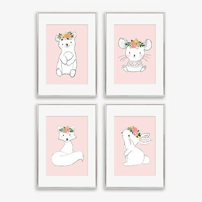 Woodland Animal Nursery Prints Childrens Girls Bedroom Pictures Decor Blush Pink