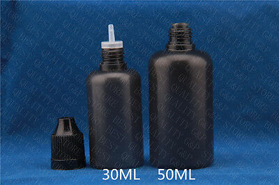 50sets 30ML  Black PE Dropper  Bottles With Childproof Cap &  Long Thin Tip