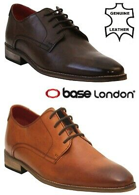 Base London TYNE Mens Real Leather Casual Lace Up Derby Shoes Washed Tan Brown