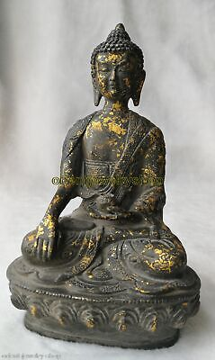 antique Old Bronze Gold-plated Statue Dynasty China Unique dragon Buddha Lucky