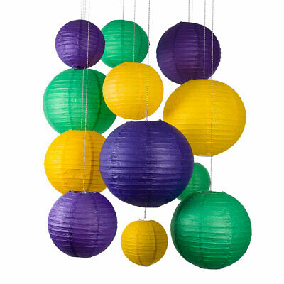 12-pc Mardi Gras Colorful Carnaval Paper Lantern Combo Party Pack