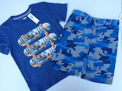 NEW lot of 2 Boys Toddler Clothes Old Navy T-shirt Okie dokie Shorts SZ 5T 5 XS