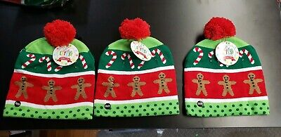 3- FLASHING Christmas GINGER BREAD MAN & CANDY CANES Knitted Hat