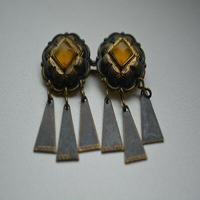 Natural OLD Antique Baltic Amber Stone Brooch