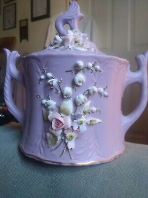 LEFTON  ROSE SUGAR BOWL with  LID 2965 PURPLE & WHITE GOLD TRIM ON BOTTOM.