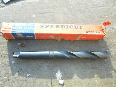 Vintage Speedicut High Speed Steel Taper Shank Drill 63/64 F. B. Tools 11 1/2 ""