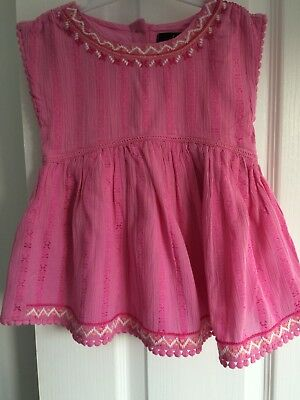 Pink fully lined tunic top - size - 12-18 months