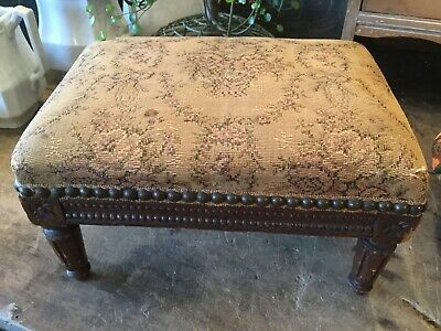 Antique vintage Victorian French wood foot stool with floral tapestry fabric top