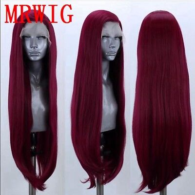 "AU 24"" Synthetic Fiber Hair Wine Red Full Head Handtied Lace Front Wig Straight"