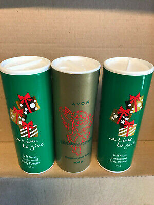 3 x AVON TALC (2 X A TIME TO GIVE 50g ; 1 X CHRISTMAS WISHES 100 g) BRAND NEW