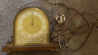 Vintage Smiths Sectric Art Deco Wood & Brass Mantel Clock