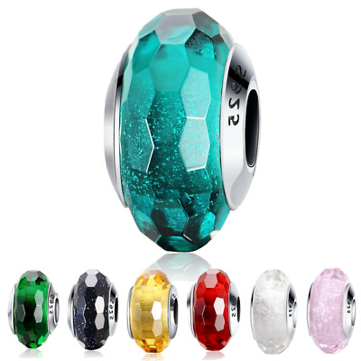Authentic 925 Sterling Silver Beads Sparkling Murano Glass Charms Fiit Pandora