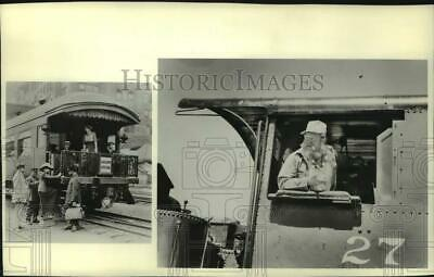 1962 Press Photo Historic passenger car and engineer in cab of locomotive