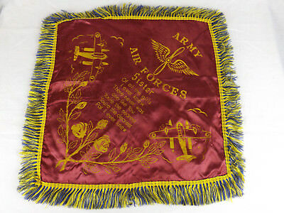 WWII US ARMY AIR FORCES Sister Pillow Cover Sham Fringes Roses Plane Red