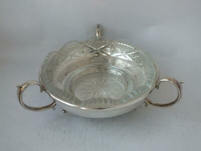 Nice Art Deco Solid Sterling Silver Dish with Cut Glass Liner 1932/ Dia 11.8 cm