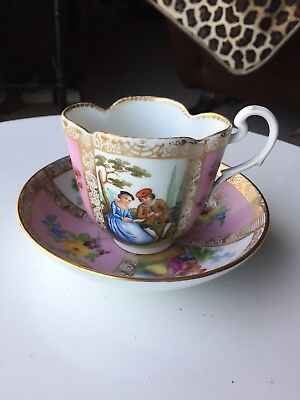 Dresden Germany Courting Couple Pink Gold Antique Cup Saucer