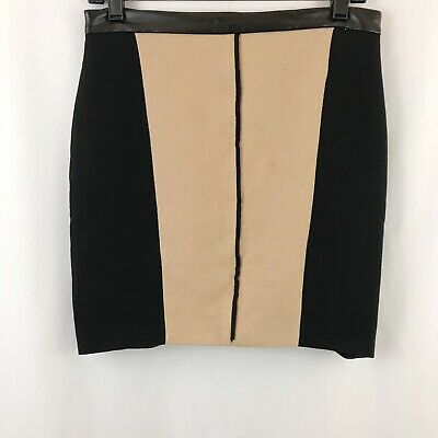 8476087513 Zara Woman Mini Pencil Skirt Weaved Fabric Faux Leather Trim Tan Black - Sz  M