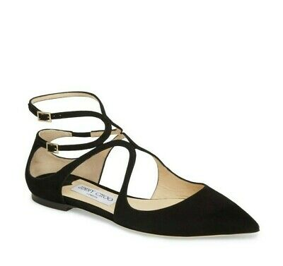 04296549a5d8 NEW JIMMY CHOO LANCER FLAT Ballet Black Suede Pointy Toe Flats US 9 EUR 39