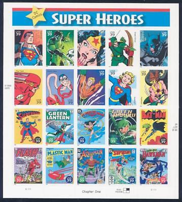 DC Comics Super Heroes 2006 full sheet (20) of 39¢ stamps U.S. #4084