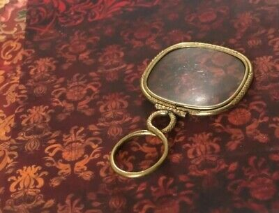 ANTIQUE GORGIAN 18Ct GOLD PINCHBECK HANDLED MAGNIFYING READING QUIZZING GLASS