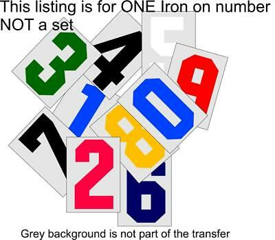 Iron On Transfer Number or Letters 10cm high Sports Jersey Soccer Football Rugby