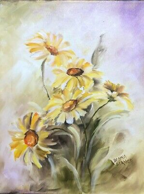 Yellow Daisies Hand Painted Oil 11 X 14 Canvas Signed